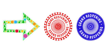 Arrow right collage of New Year symbols, such as stars, fir trees, colored round items, and GRAND REOPENING unclean stamps. Vector GRAND REOPENING stamp seals uses guilloche ornament,