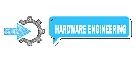 Chat Hardware Engineering blue bubble frame and wire frame cog integration. Frame and colored area are misplaced for Hardware Engineering caption, which is located inside blue colored banner.