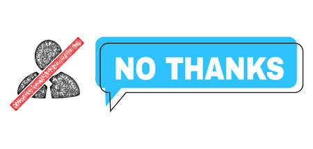 Speech No Thanks blue cloud frame and net blacklisted clerk. Frame and colored area are shifted for No Thanks text, which is located inside blue colored speech balloon.