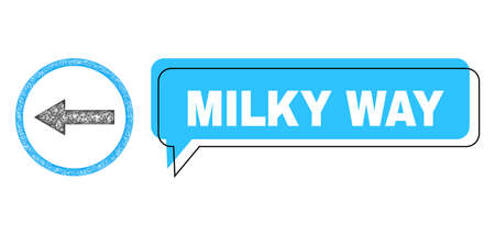 Chat Milky Way blue bubble frame and network left rounded arrow. Frame and colored area are shifted to Milky Way text, which is located inside blue colored speech balloon.
