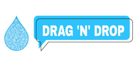Speech Drag N Drop blue cloud frame and wire frame drop. Frame and colored area are misplaced for Drag N Drop text, which is located inside blue colored speech balloon.