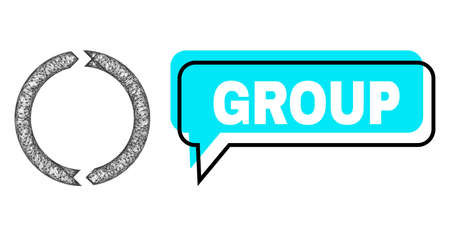 Chat Group blue bubble frame and net mesh rotation. Frame and colored area are shifted to Group text, which is located inside blue bubble. Vector quote text inside message frame.