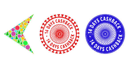 Arrowhead left composition of New Year symbols, such as stars, fir trees, bright balls, and 14 DAYS CASHBACK rough stamp prints. Vector 14 DAYS CASHBACK stamp seals uses guilloche ornament,
