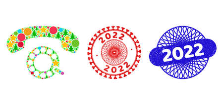 Pulse dialing composition of New Year symbols, such as stars, fir-trees, color balls, and 2022 scratched stamps. Vector 2022 stamps uses guilloche pattern, designed in red and blue colors. Stars,