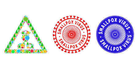 Policeman warning composition of Christmas symbols, such as stars, fir-trees, color balls, and SMALLPOX VIRUS textured stamp imitations. Vector SMALLPOX VIRUS stamp seals uses guilloche ornament,