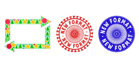 Exchange arrows composition of New Year symbols, such as stars, fir-trees, bright spheres, and NEW FORMAT scratched stamp seals. Vector NEW FORMAT seals uses guilloche pattern, 矢量图像