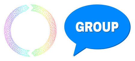 Group and rotation vector. Spectrum colorful network rotation, and conversation Group bubble frame. Conversation colored Group bubble has shadow.