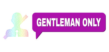 Gentleman Only and no gentleman vector. Spectral colored net no gentleman, and speech Gentleman Only bubble message. Speech colored Gentleman Only cloud has shadow. 矢量图像