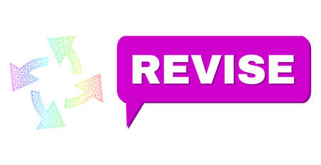 Revise and centrifugal arrows vector. Spectrum vibrant net centrifugal arrows, and speech Revise bubble message. Chat colored Revise bubble has shadow. 矢量图像