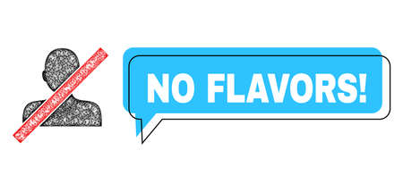 Chat No Flavors! blue bubble frame and wire frame closed man. Frame and colored area are misplaced for No Flavors! label, which is located inside blue speech balloon.