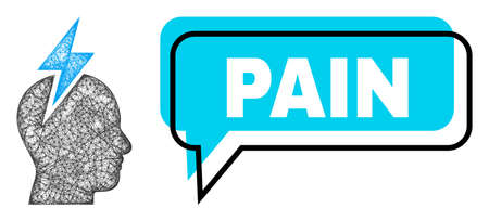 Speech Pain blue cloud frame and net mesh headache. Frame and colored area are shifted for Pain caption, which is located inside blue colored bubble. Vector quote tag inside chat frame.