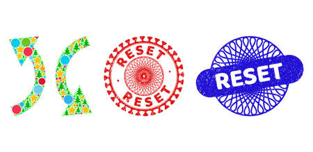 Exchange arrows composition of New Year symbols, such as stars, fir-trees, bright round items, and RESET corroded watermarks. Vector RESET stamps uses guilloche pattern,