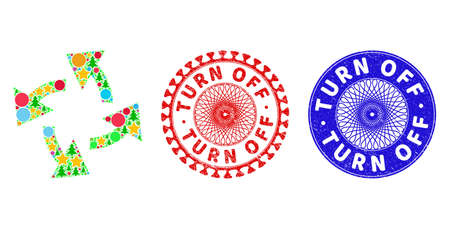 Centrifugal arrows collage of New Year symbols, such as stars, fir-trees, color circles, and TURN OFF rough seals. Vector TURN OFF seals uses guilloche pattern, designed in red and blue colors. Stars,