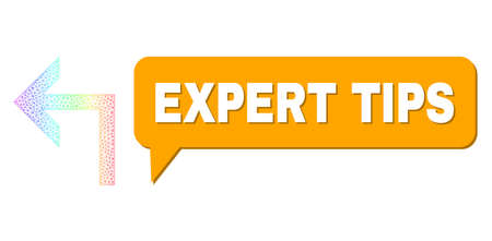 Expert Tips and turn left vector. Spectral colored network turn left, and conversation Expert Tips bubble frame. Conversation colored Expert Tips bubble has shadow. 矢量图像