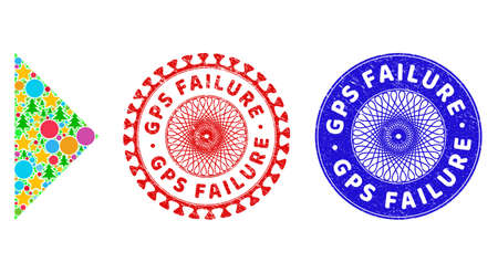Arrowhead right collage of Christmas symbols, such as stars, fir trees, multicolored spheres, and GPS FAILURE dirty stamp seals. Vector GPS FAILURE stamp seals uses guilloche pattern,
