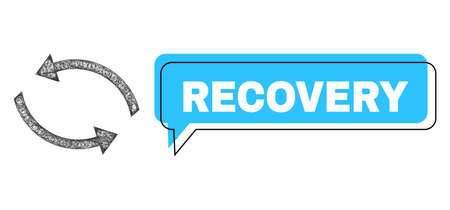 Conversation Recovery blue cloud frame and wire frame exchange arrows. Frame and colored area are misplaced to Recovery phrase, which is located inside blue colored cloud.