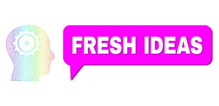 Fresh Ideas and intellect vector. Spectrum colorful mesh intellect, and conversation Fresh Ideas cloud message. Chat colored Fresh Ideas cloud has shadow. 矢量图像