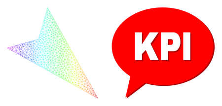 Kpi and arrowhead right-down vector. Spectral colored mesh arrowhead right-down, and speech Kpi bubble message. Conversation colored Kpi bubble has shadow.