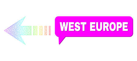 West Europe and send left vector. Spectrum colored network send left, and conversation West Europe cloud frame. Conversation colored West Europe cloud has shadow.