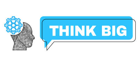 Speech Think Big blue cloud message and wire frame head gear. Frame and colored area are misplaced for Think Big text, which is located inside blue colored speech balloon.