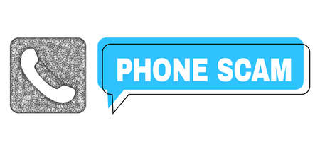 Speech Phone Scam blue cloud frame and crossing mesh phone. Frame and colored area are misplaced for Phone Scam label, which is located inside blue colored speech balloon.