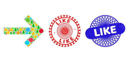 Arrow right collage of New Year symbols, such as stars, fir-trees, bright circles, and LIKE scratched stamp seals. Vector LIKE watermarks uses guilloche ornament, designed in red and blue versions. 矢量图像