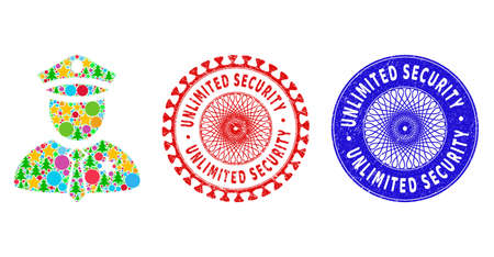 Police guy mosaic of New Year symbols, such as stars, fir-trees, color round items, and UNLIMITED SECURITY grunge stamp seals. Vector UNLIMITED SECURITY stamps uses guilloche pattern, 向量圖像