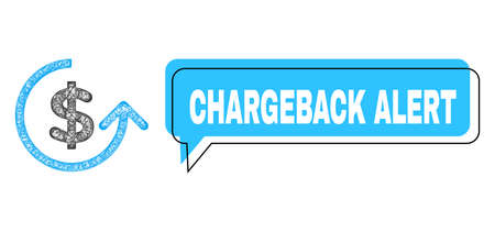 Conversation Chargeback Alert blue bubble frame and wire frame chargeback. Frame and colored area are shifted for Chargeback Alert phrase, which is located inside blue bubble. Ilustrace
