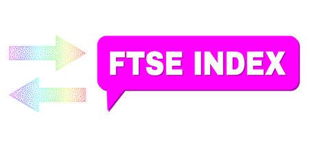 Ftse Index and horizontal flip arrows composition. Spectral colored mesh horizontal flip arrows, and chat Ftse Index bubble frame. Conversation colored Ftse Index bubble has shadow.
