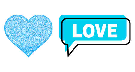Conversation Love blue cloud frame and network love heart. Frame and colored area are misplaced for Love caption, which is located inside blue colored bubble. Vector quote tag inside message frame.