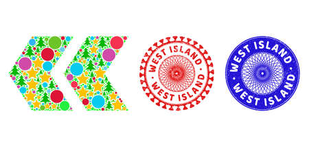 Shift left composition of Christmas symbols, such as stars, fir trees, color spheres, and WEST ISLAND corroded stamp prints. Vector WEST ISLAND watermarks uses guilloche ornament, Ilustración de vector