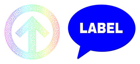 Label and direction up composition. Rainbow colored net direction up, and conversation Label bubble message. Chat colored Label bubble has shadow. 矢量图像