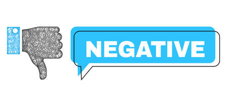 Conversation Negative blue bubble frame and wire frame thumb down. Frame and colored area are misplaced to Negative text, which is located inside blue colored bubble. Illustration