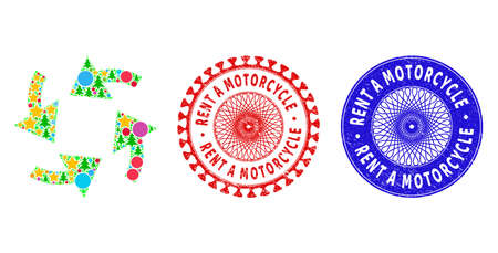 Cyclone arrows composition of New Year symbols, such as stars, fir trees, color balls, and RENT A MOTORCYCLE rubber stamp prints. Vector RENT A MOTORCYCLE stamp seals uses guilloche pattern, 矢量图像