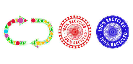 Recycle collage of Christmas symbols, such as stars, fir trees, color circles, and 100% RECYCLED unclean stamp imitations. Vector 100% RECYCLED stamps uses guilloche ornament,