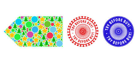 Direction left mosaic of New Year symbols, such as stars, fir-trees, colored spheres, and TRY BEFORE BUY! rubber stamp seals. Vector TRY BEFORE BUY! seals uses guilloche ornament,