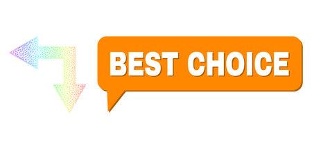 Best Choice and bifurcation arrow left down vector. Rainbow colored net bifurcation arrow left down, and conversation Best Choice bubble message. Chat colored Best Choice bubble has shadow.