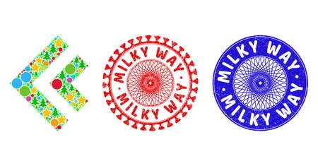 Shift left collage of New Year symbols, such as stars, fir trees, color circles, and MILKY WAY corroded stamp seals. Vector MILKY WAY stamp seals uses guilloche ornament,