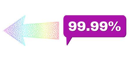 99.99% and arrow left composition. Spectrum colorful net arrow left, and speech 99.99% bubble message. Speech colored 99.99% bubble has shadow.