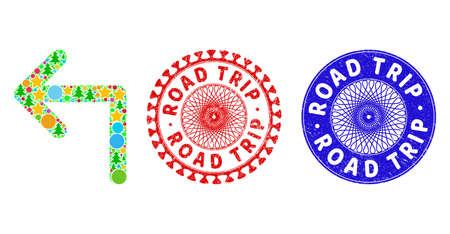 Turn left collage of Christmas symbols, such as stars, fir-trees, colored round items, and ROAD TRIP rough stamps. Vector ROAD TRIP stamps uses guilloche ornament, designed in red and blue variants. 矢量图像