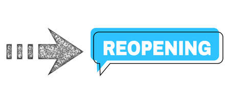 Speech Reopening blue bubble frame and wire frame send right. Frame and colored area are shifted to Reopening phrase, which is located inside blue speech balloon. Vector quote title inside chat frame.