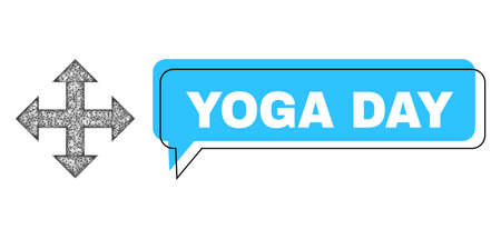 Speech Yoga Day blue bubble message and wire frame expand. Frame and colored area are shifted to Yoga Day caption, which is located inside blue colored bubble. Vector quote text inside forum frame. 矢量图像