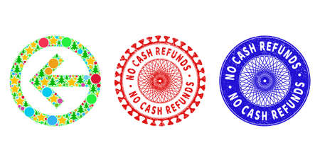 Direction left mosaic of Christmas symbols, such as stars, fir-trees, colored spheres, and NO CASH REFUNDS rubber stamps. Vector NO CASH REFUNDS seals uses guilloche pattern, 矢量图像