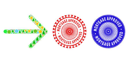 Arrow right collage of New Year symbols, such as stars, fir-trees, colored circles, and MORTGAGE APPROVED dirty stamps. Vector MORTGAGE APPROVED seals uses guilloche pattern,
