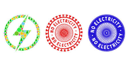 Electricity collage of Christmas symbols, such as stars, fir-trees, color spheres, and NO ELECTRICITY textured seals. Vector NO ELECTRICITY stamp seals uses guilloche pattern,