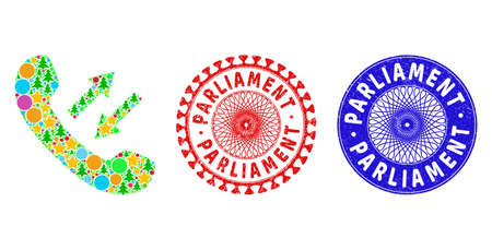 Phone talking composition of New Year symbols, such as stars, fir trees, bright round items, and PARLIAMENT dirty stamp seals. Vector PARLIAMENT seals uses guilloche ornament, Stock Illustratie