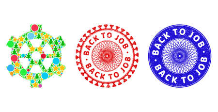 Gear composition of Christmas symbols, such as stars, fir trees, bright round items, and BACK TO JOB unclean seals. Vector BACK TO JOB stamp seals uses guilloche pattern,