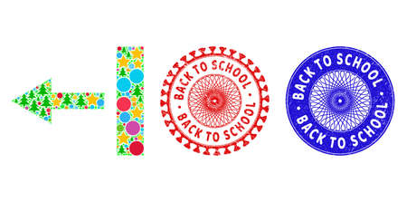 Pull left mosaic of New Year symbols, such as stars, fir-trees, color round items, and BACK TO SCHOOL unclean stamp seals. Vector BACK TO SCHOOL seals uses guilloche pattern, Ilustrace