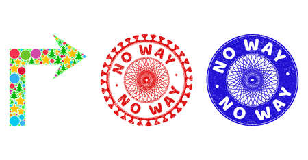 Turn right composition of New Year symbols, such as stars, fir-trees, color balls, and NO WAY dirty stamp seals. Vector NO WAY watermarks uses guilloche ornament, designed in red and blue variants. 写真素材 - 161613876
