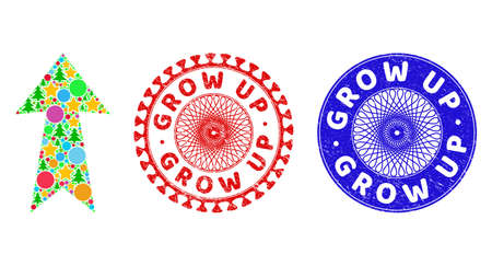 Arrow up collage of Christmas symbols, such as stars, fir-trees, colored round items, and GROW UP textured stamps. Vector GROW UP stamp seals uses guilloche ornament, Ilustrace